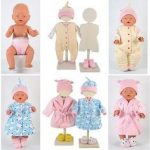 Different types of baby and doll clothes.