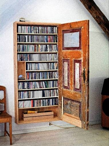 old door hidden wall book storage shelves u2013 rustic home decor vintage bookcase-f93322 & old door hidden wall book storage shelves - rustic home decor ...